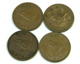 PARCEL 4 FARTHING COINS 1943-1954   J10