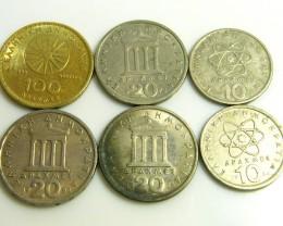 PARCEL SIX MIXED GREEK COINS  J 32