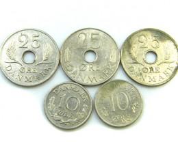 PARCEL 5 DANISH COINS 1970s   J 35