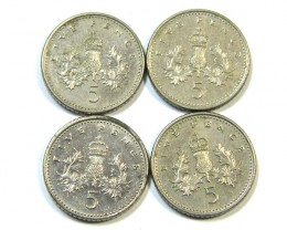 UK Five Pence Coins