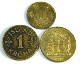PARCEL 3 ISLAND COINS FROM ICELAND 1925-1970   J 68