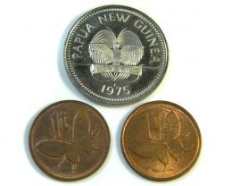 PARCEL 3 PAPUA COINS  UNC  1975   J 72