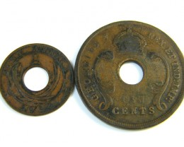 BRITISH EAST AFRICA 1 & 10 CENTS COIN 1924   J 111