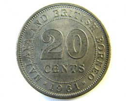 20 CENTS MALAYSIA AND BORNEO COIN 1961   J 145