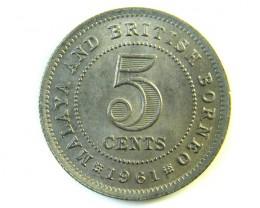 5 CENTS MALAYSIA& BRITISH BORNEO 1961  J 149
