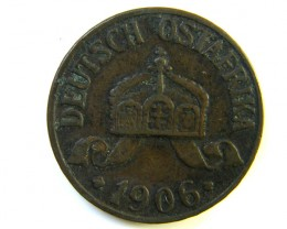 1906 1/2 HELLER GERMAN  EAST AFRICA COIN  J 188