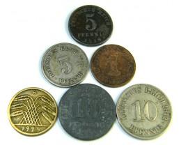 PARCEL 6 GERMAN COINS 1902,1921/1925     J 208