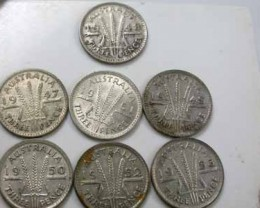 7 SILVER  50% THREEPENCE 1947.1948,1949,1950,51,52,53,  OP17