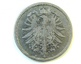 ONE MARK GERMANY 1875  IMPERIAL SILVER 24 J 210