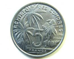 5 FRANCS DES COMORES  UNC  1964     J 215