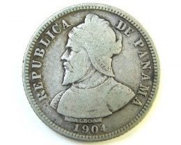 SILVER PANAMA COIN 1904   J 217