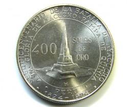 UNC 400 ORO 1976 PERU COIN  J 229