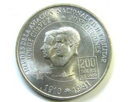 UNC 200 DE ORO PERU COIN  1975  J 230