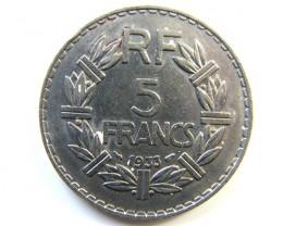 5 FRANS FRANCE COIN .1933 J 237