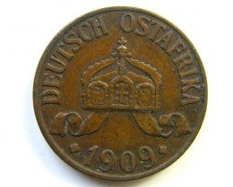 GERMAN  EAST AFRICA 1 HELLER 1909  COIN  J277