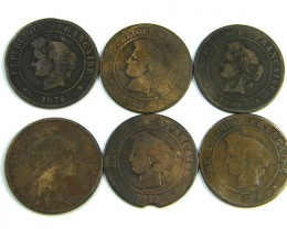PARCEL 6 FRENCH COINS 1872-1912   J 280