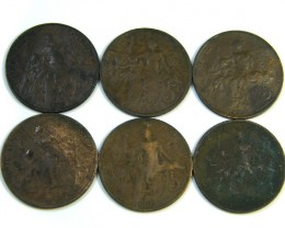 PARCEL 6 FRENCH COINS 1898-1920   J 281