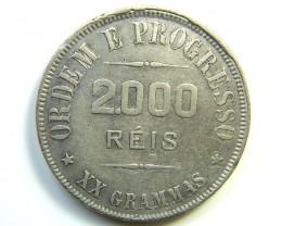 1907 BRAZIL SILVER 2000 REIS.VF  J 286