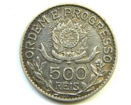 1913 A BRAZIL SILVER 500 REIS.EF   J 285