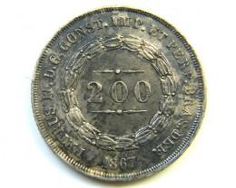 1867 BRAZIL SILVER 200 REIS.EF    J282