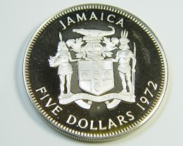 UNC LARGE JAMACIA 5 DOLLAR  SILVER  COIN 1972   J289