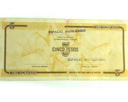 CUBA NOTE  5 PESOS   J 304