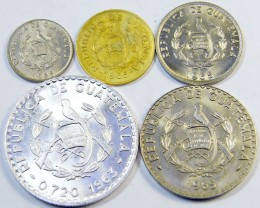 UNCIRULATED   PARCEL 5 GUATEMALA COINS 1965   J 311