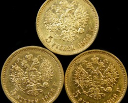 PARCEL THREE  RUSSIAN 1898 5 ROUBLES GOLD COINS  CO10