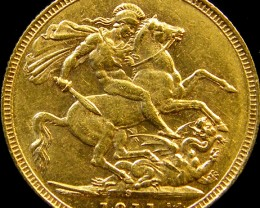 1911 M KING GEORGE V FULL GOLD SOVERIGN SYDNEY CO 23