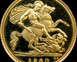 1980 QUEEN ELIZABETH HALF  GOLD SOVERIGN  CO 25