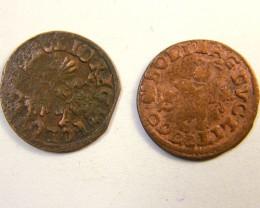 2 COINS POLAND  JAN CASIMIR AE SOLIDUS OP215
