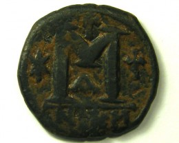 ANCIENT BYZANTINE L1, JUSTINIAN I BRONZE FOLLIS AC278