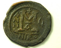 ANCIENT BYZANTINE L1, JUSTIN II BRONZE FOLLIS COIN AC287