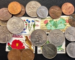 Parcel bulk lot USA coins dimes cents Quarters plus stamps     T 310