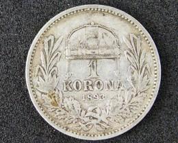 WORLD COINS HUNGRAY 1893  ONE KORONA  T 320