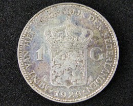 WORLD COINS OLD DUTCH COIN 1929 ONE GULDEN  t323