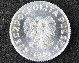 WORLD COINS POLAND 1949  ONE GROSZ  T 324
