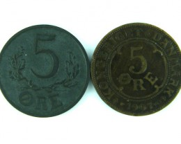 TWO NICE COINS FROM DANMARK 5 ORE 1944 AND 1907 T 344