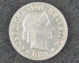 SWISS 1921 COIN  T 359