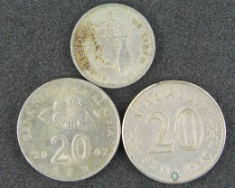 THREE MALAYSIA COINS  1950 TO 2002     T 388