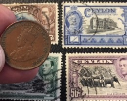 1923 Ceylon ONE CENT COIN (Great Britain Rule) PLUS STAMPS  T 405