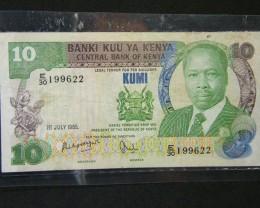 NOTE KENYA 10 KUMI    T 443