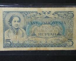 NOTE INDONESIA 1952  5 RUPIAH    T 449
