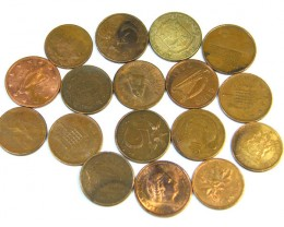 BULK LOT COINS   BRASS ,COPPER 51 GRAMS       T454