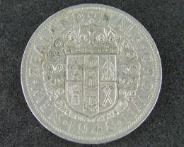 New Zealand 1948 Half Crown (VF+)                       T 45