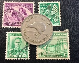 NEW ZEALAND ONE FLORIN 1947  PLUS STAMPS                       T 469