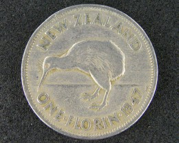 NEW ZEALAND ONE FLORIN 1947                       T 469