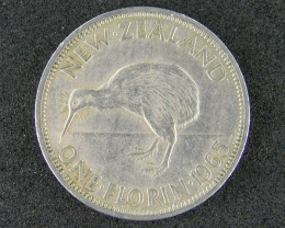 NEW ZEALAND  ONE FLORIN 1965                     T 470
