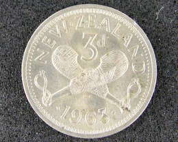 NEW ZEALAND 1963 THREE PENCE                    T484