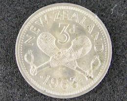 NEW ZEALAND 1963 THREE PENCE                    T484